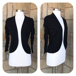 Peter Nygard Black Ruched 3/4 Sleeve Open Cardigan